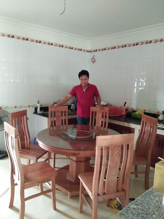 Bộ Bàn Ăn Vuông 8 Ghế Gỗ Sồi Nga Hải Phòng