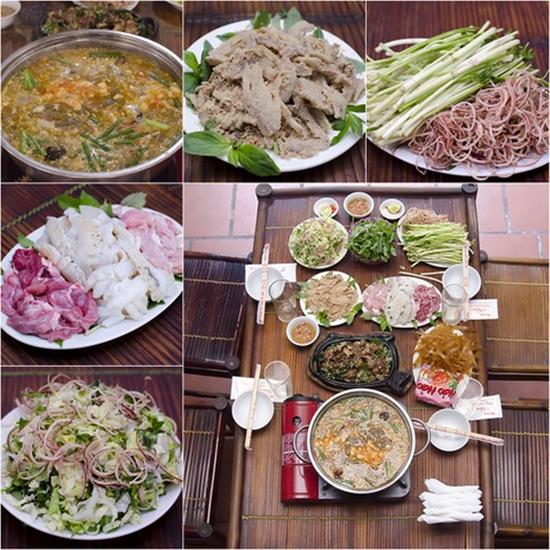 Set ăn Nhím (dê) nướng tại bàn, Nạm bò thính, Lẩu cua đồng